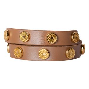 Picture of Champagne Leather Wrap with Gold Studs